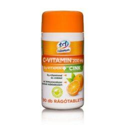 1x1 Vitaday C-vitamin 200mg +D3 + cink rágótabletta narancs 90x